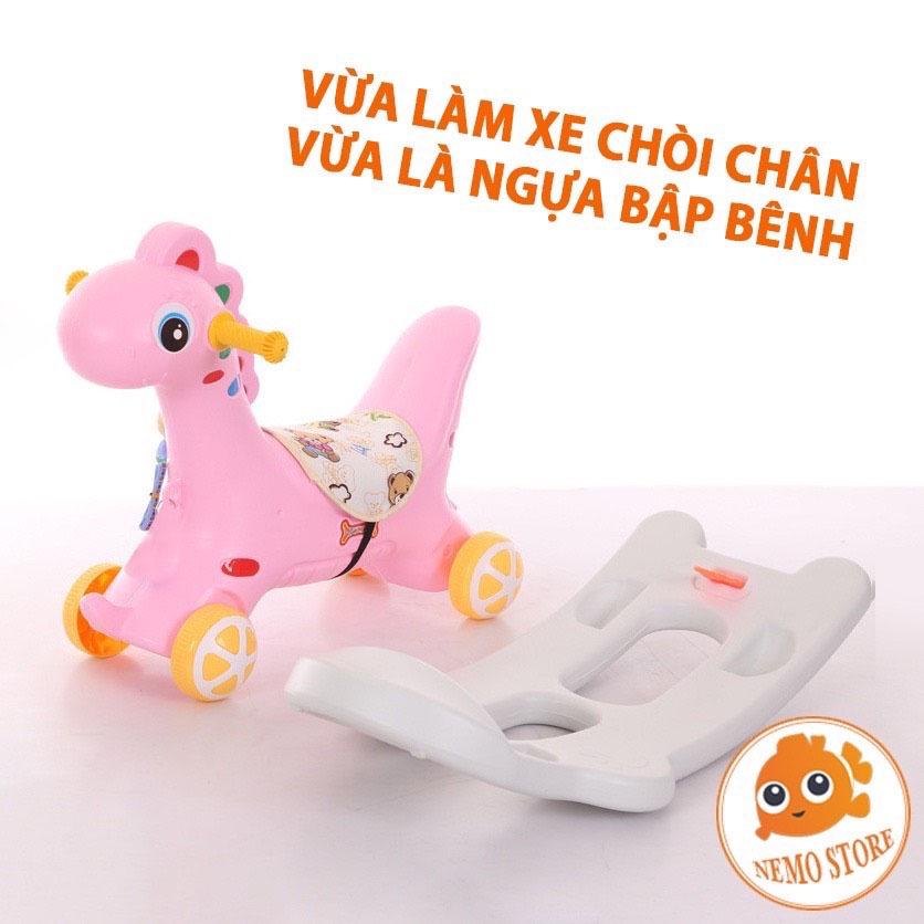 Ngựa bập bênh cho bé 1 2 tuổi 2 in 1 có bánh xe có nhạc Nemo store