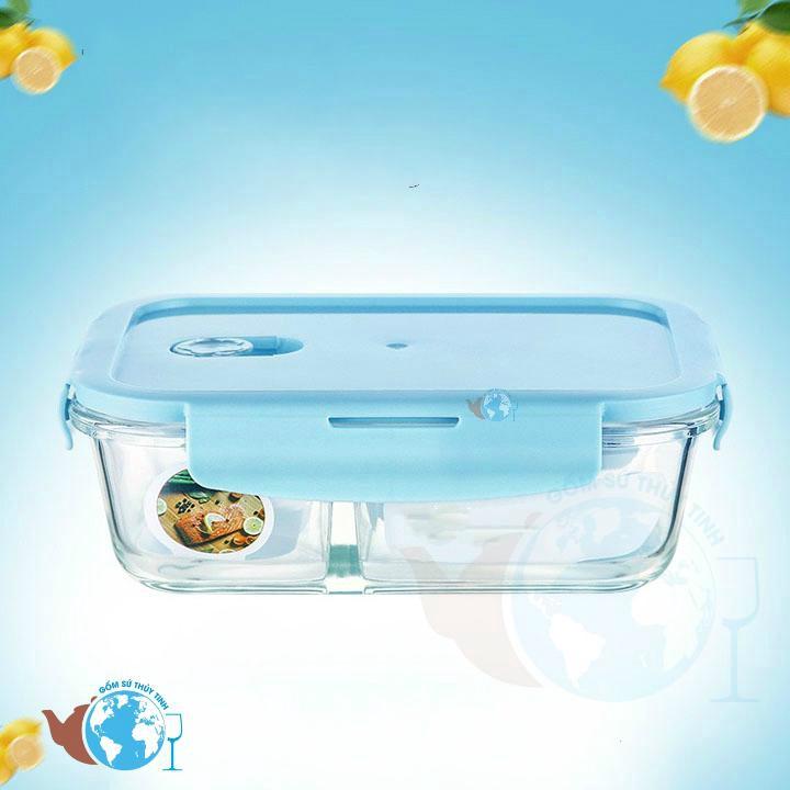 Hộp đựng cơm chữ nhật 1 lít lớn 3 ngăn - hộp đựng thực phẩm dày chịu nhiệt cao cấp dùng lò viba - BX1001-3GD