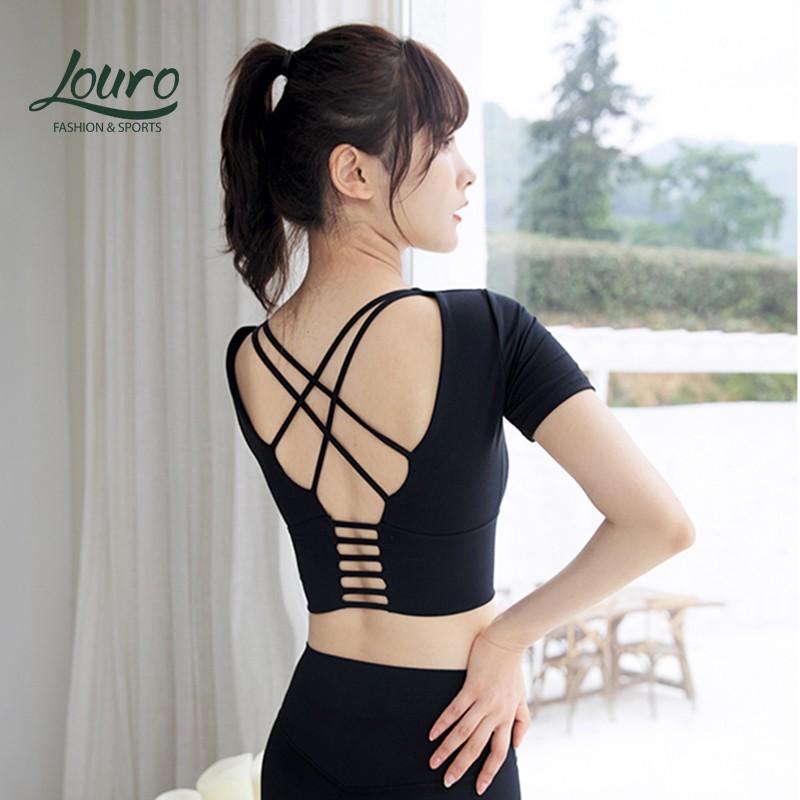 Mặc gì đẹp: Dẻo dai với Áo tập gym nữ cao cấp Louro LA31, kiểu áo croptop body nữ quai chéo, sẵn mút nâng ngực, tập Yoga, Gym, Zumba