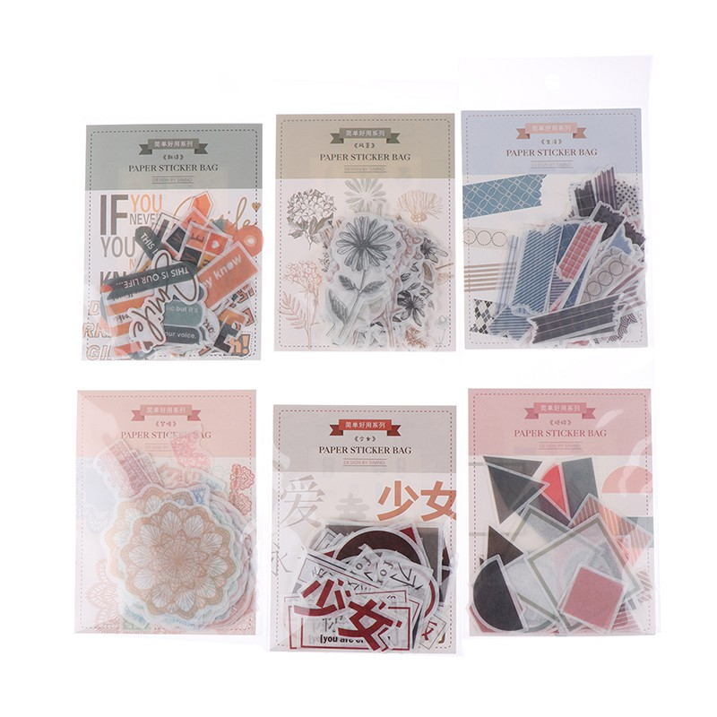 🌸ĐẦY ĐỦ 🌸40pcs/bag Decorative StickersScrapbooking DIY Decoration Diary Sticker