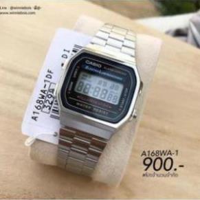Đồng hồ nam Casio A168 Full Box cổ điển, chống nước, dây thép không gỉ, lịch sự, trang trọng