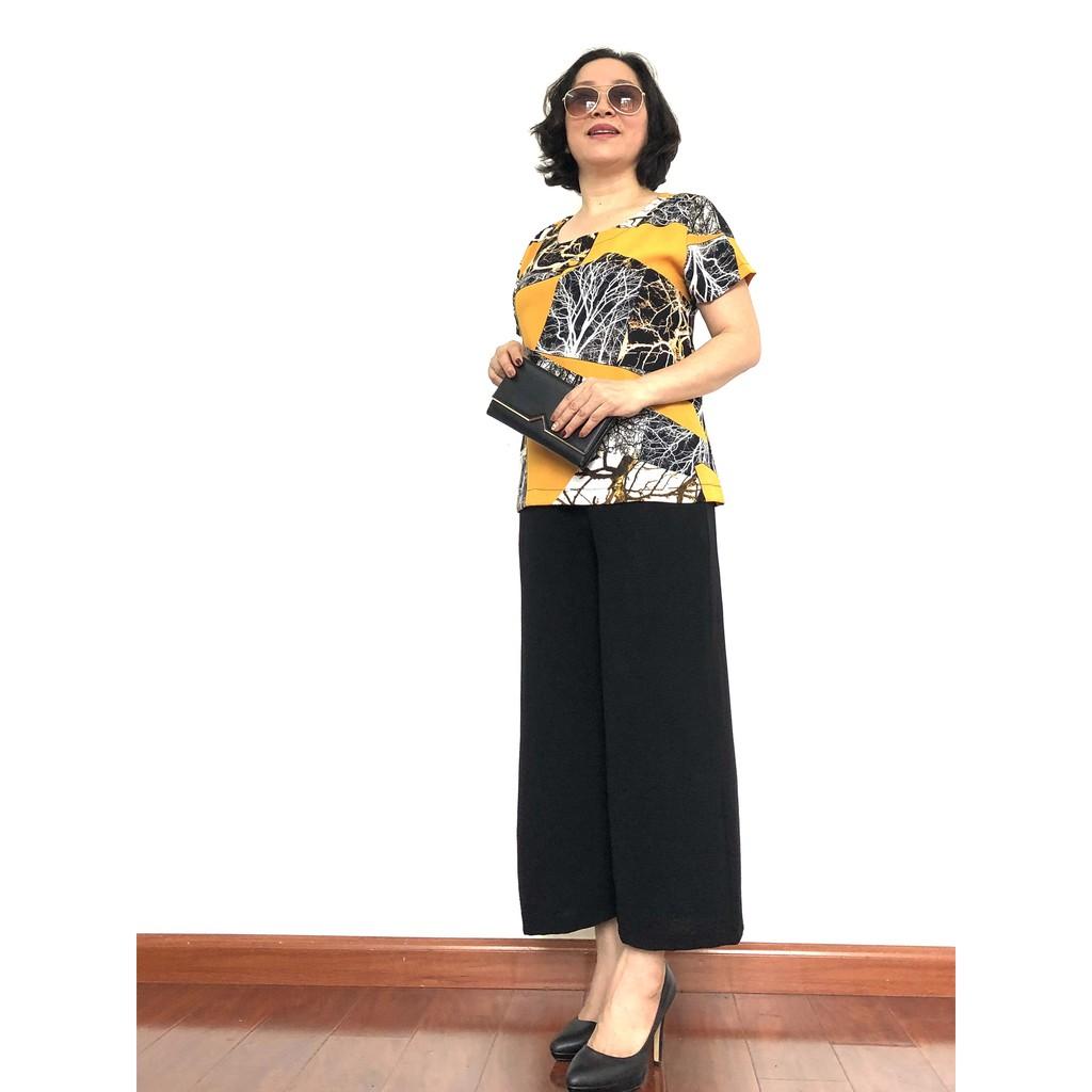 Đồ Bộ Trung Niên - Bộ đồ phối áo lụa hàn châu, quần đũi cao cấp, Siêu mềm, Siêu mát - Dành cho quý bà - Laddy_store