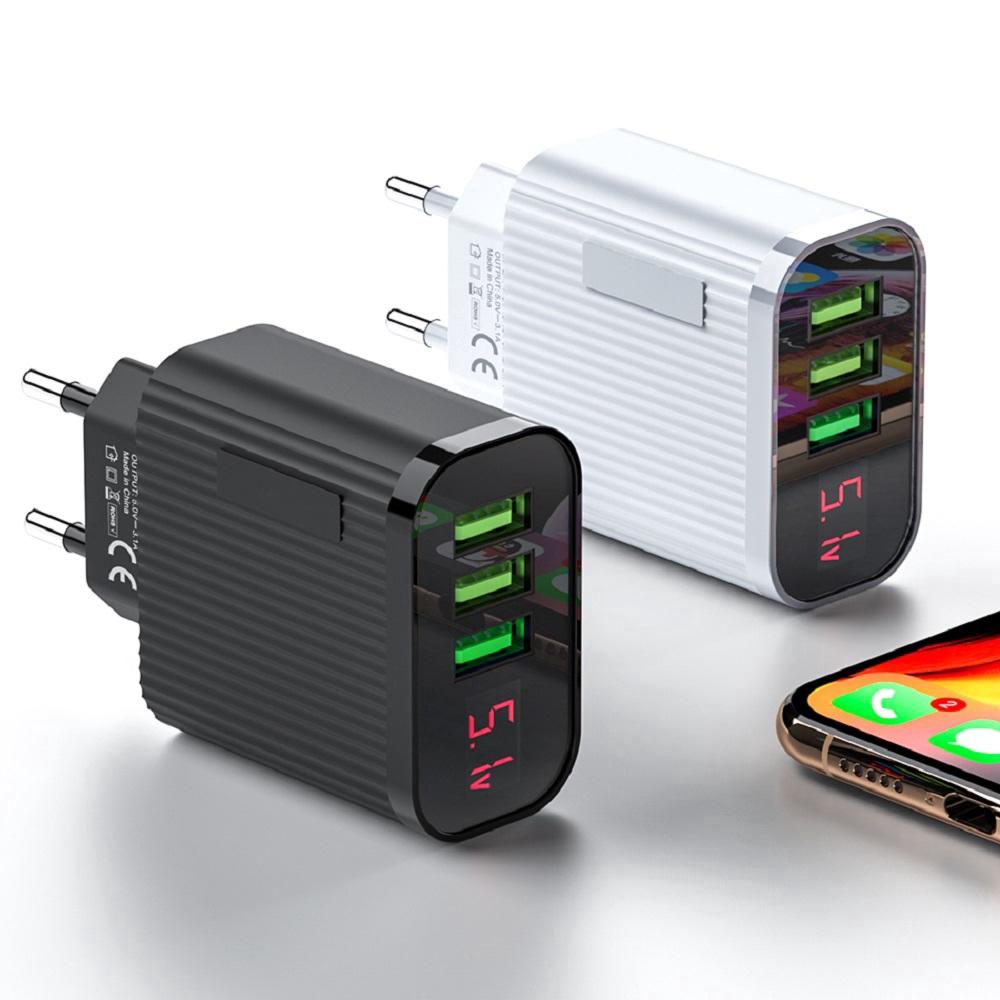 Cốc sạc nhanh với 3 cổng USB 5V 3A phích cắm EU có thể sử dụng tại nhà và mang theo du lịch