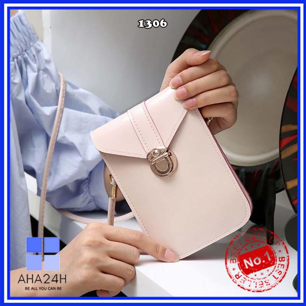 Túi đeo chéo hàn quốc⚡FREESHIP⚡túi mini da PU khóa cài form thuôn xinh xắn AH1306