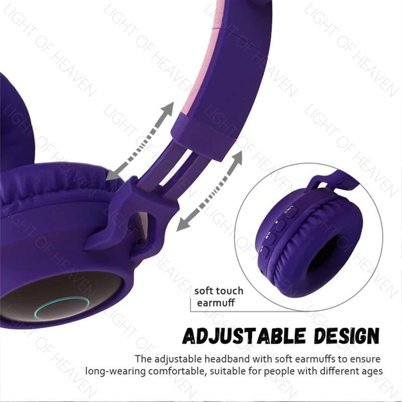 Tai nghe chụp tai không dây đính tai mèo dễ thương có đèn led phát sáng