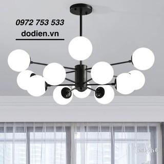 Đèn chùm decor phòng khách đèn thả phòng khách 12 bóng thân đen