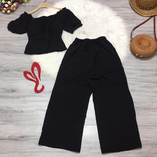 Set bộ áo nhún quần ống rộng