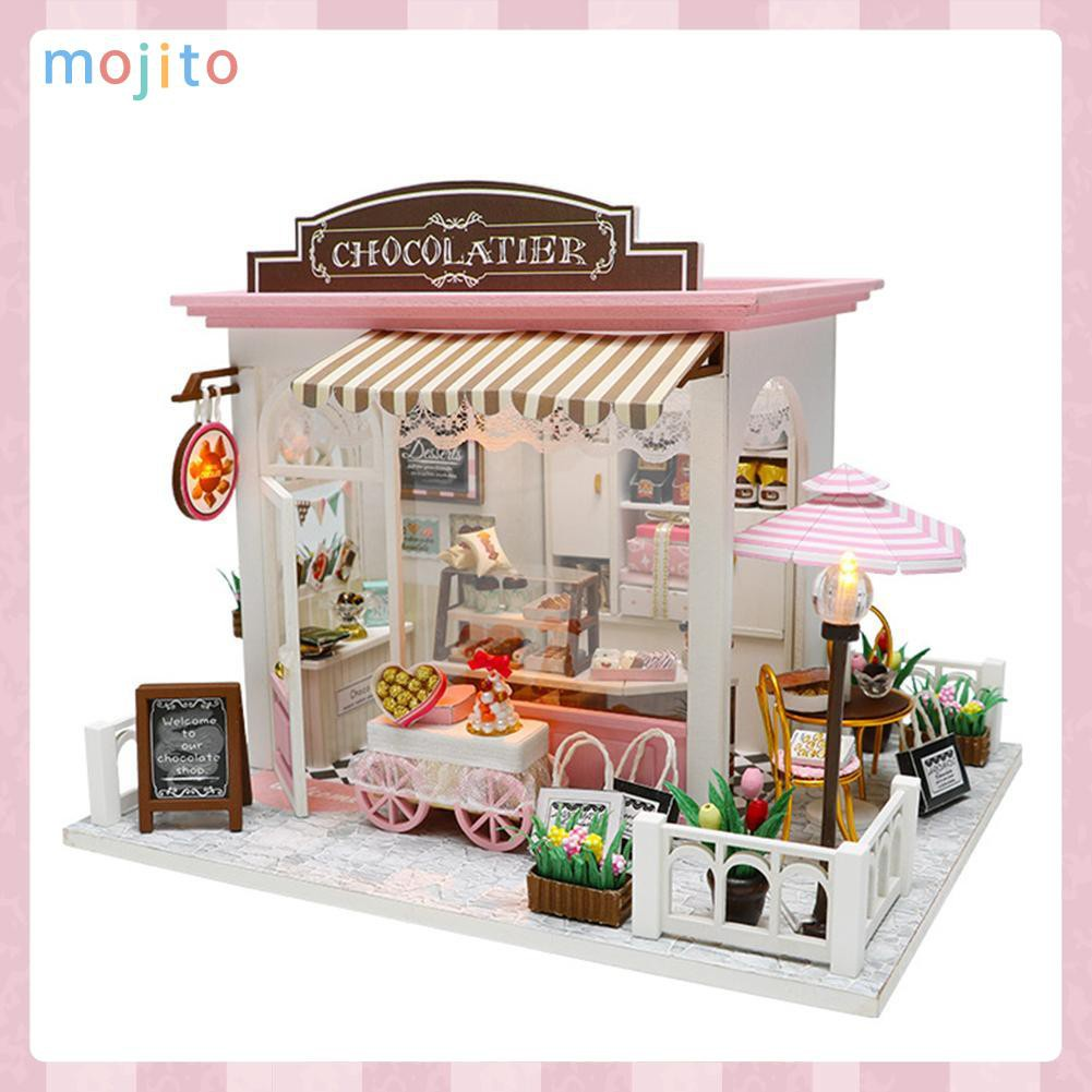 MOJITO DIY Model Wooden Miniature Doll House Furniture Building Blocks Gift Toys
