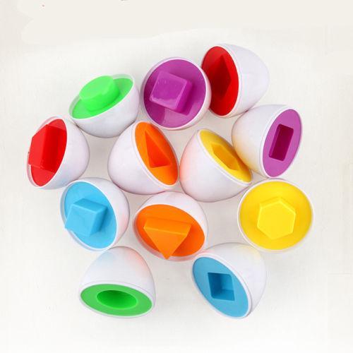 JQAIQ 6PCS Puzzle Egg Match Smart Shape Colors Educational Learning Toy Kid Easter Egg