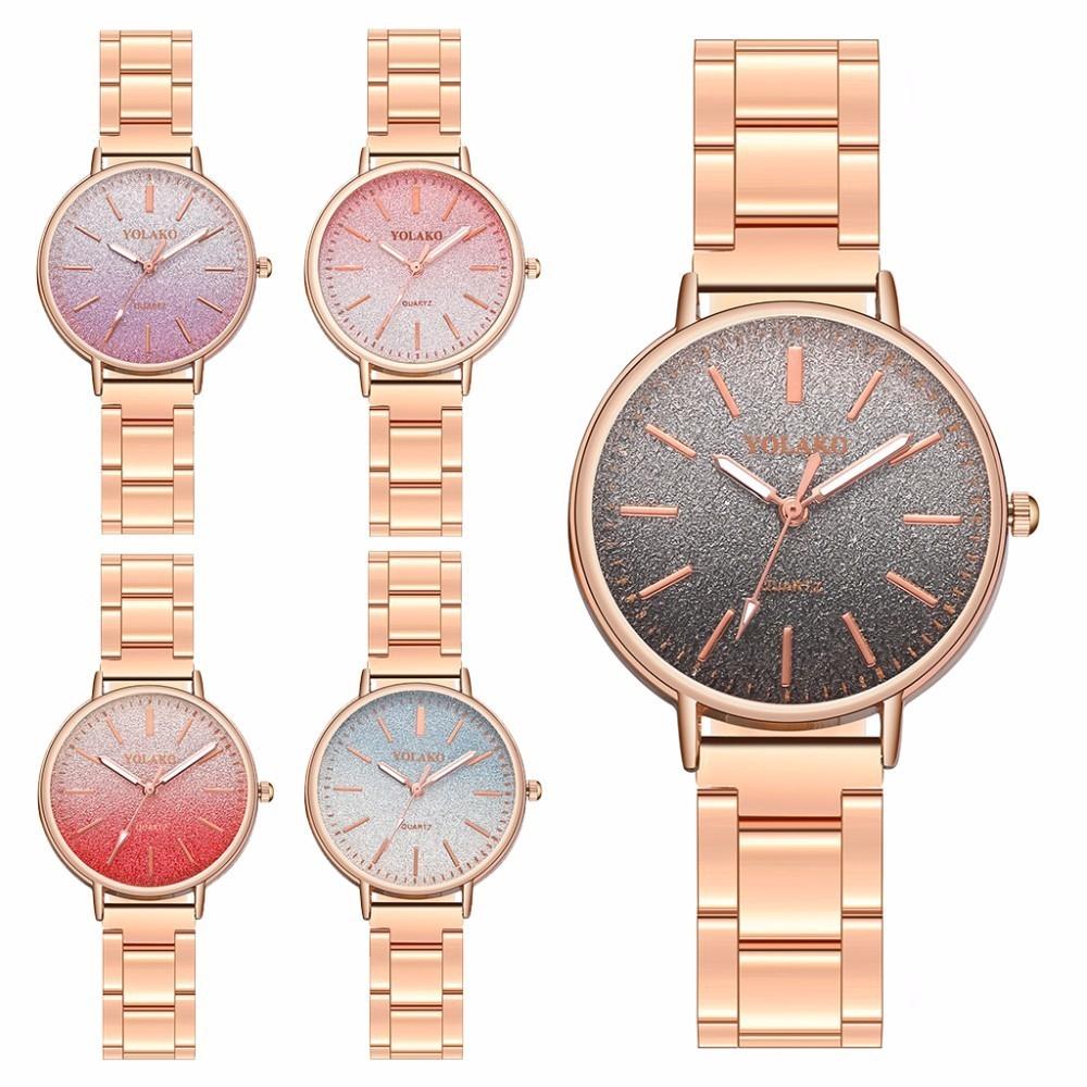Fashion Luxury Rose Gold Stainless Steel Starry Sky Quartz Watch