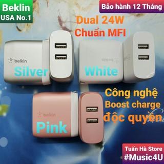 Củ sạc nhanh Belkin 24W Dual USB, chuẩn MFI, công nghệ Boost Charge, No box [Music4U] thumbnail