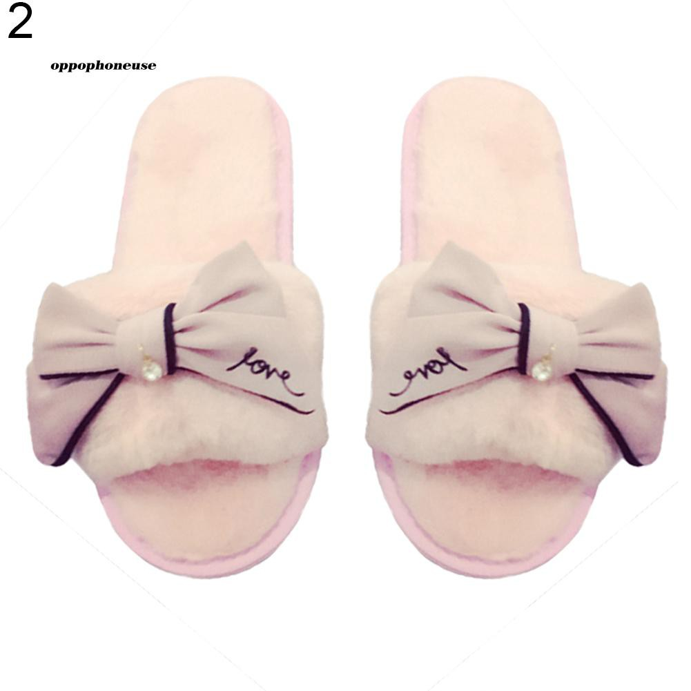 【OPHE】Fashion Women Bowknot Faux Fur Open Toe Indoor Winter Slippers Slip On Shoes
