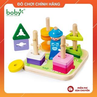 Đồ chơi gỗ chính hãng – Bộ thả hình khối 5 trụ Boby