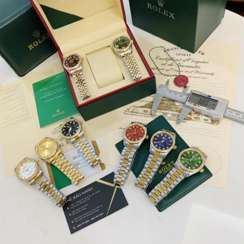 (Thẻ bảo hành 12 tháng) Đồng hồ nam Rolex - viền đá dây kim loại chống nước - rolex.vienda