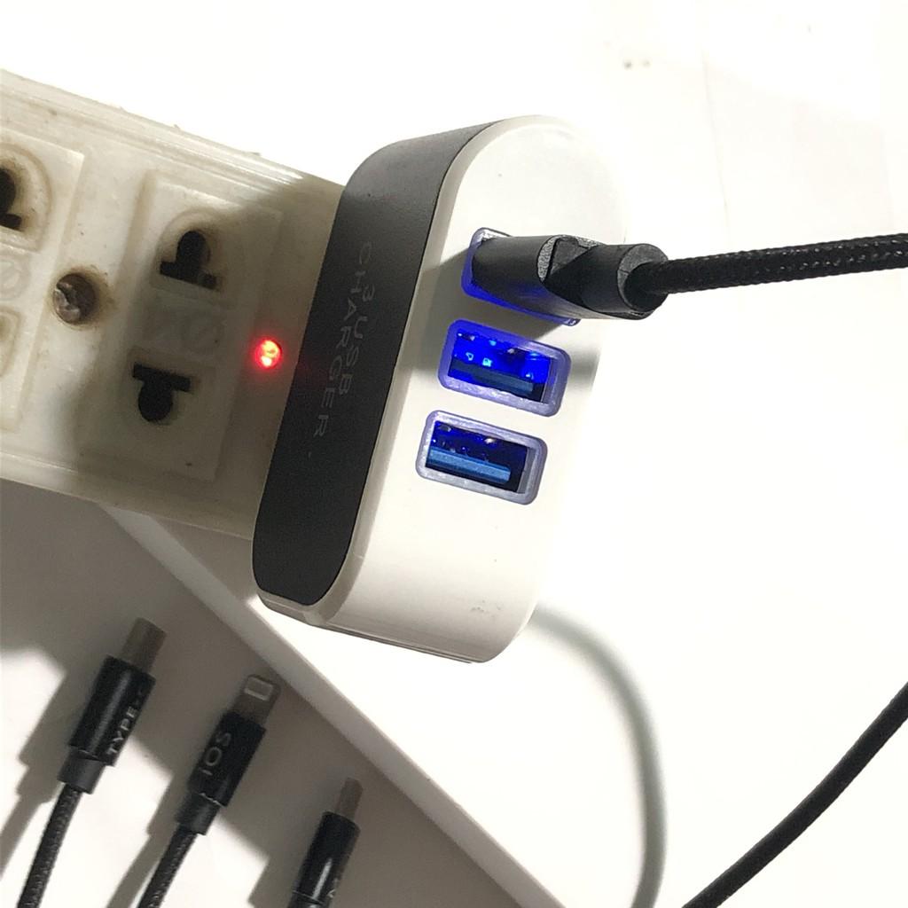 Củ sạc 3 cổng USB - Sạc đa năng có đèn Led-Giá rẻ như cho-Thuận tiện cho đi du lịch