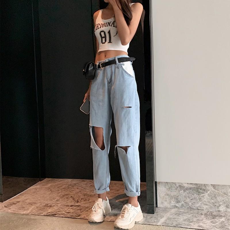 กางเกงหญิง 2019 แฟชั่นกางเกงยีนส์หลุมหลวมเอวสูงกางเกงฮาเร็มป่าตรงเก้ากางเกง