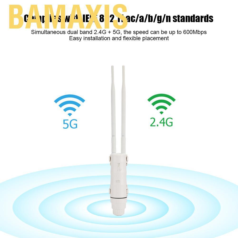 Bộ Lặp Sóng Wifi Bamaxis Ac600 Băng Tần Kép 2.4g + 5g 100-240v