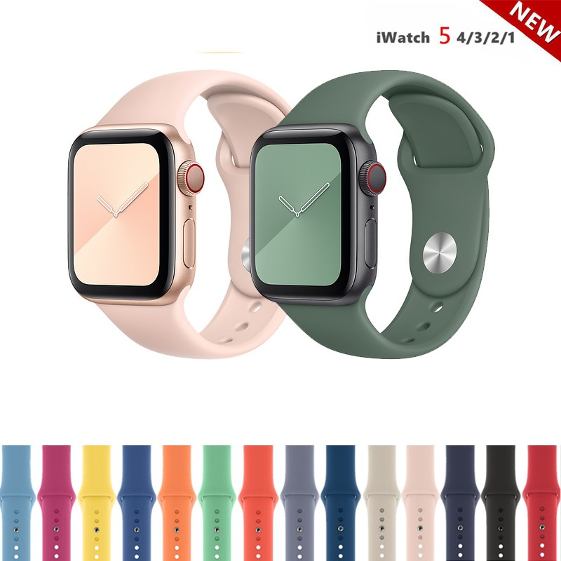 Dây đeo đồng hồ silicone phong cách thể thao cho Apple Watch 38mm 40mm 42mm 44mm
