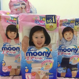 Tã quần Moony L44 gái, L44 trai , XL38 gái, XL38 boy, XXL26 gái , XXL26 trai