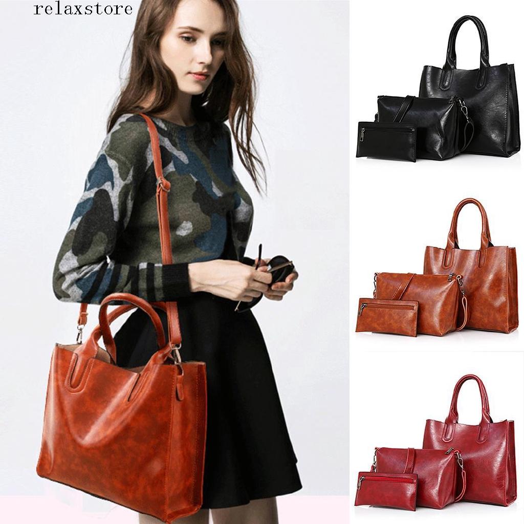 re Women Artificial Leather Shoulder Bag Satchel Hobos Handbag Tote Purse Kit 3Pcs
