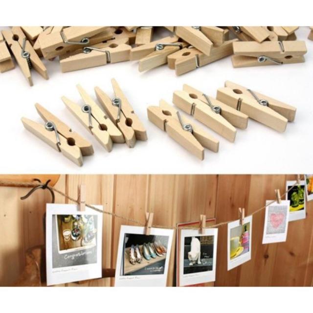 Kẹp gỗ treo ảnh 50 chiếc tặng kèm dây treo ảnh 5m