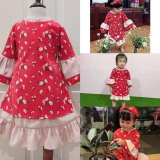 Áo dài cách tân cho bé tặng kèm turban, Váy bé gái thời trang hàng thiết kế Cao Cấp cho bé từ 6- 35kg
