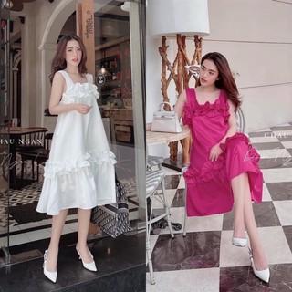Váy 2 Dây phối bèo, Đầm 2 dây dáng dài, đầm bầu mặc okiii👗[L1 cao cấp]
