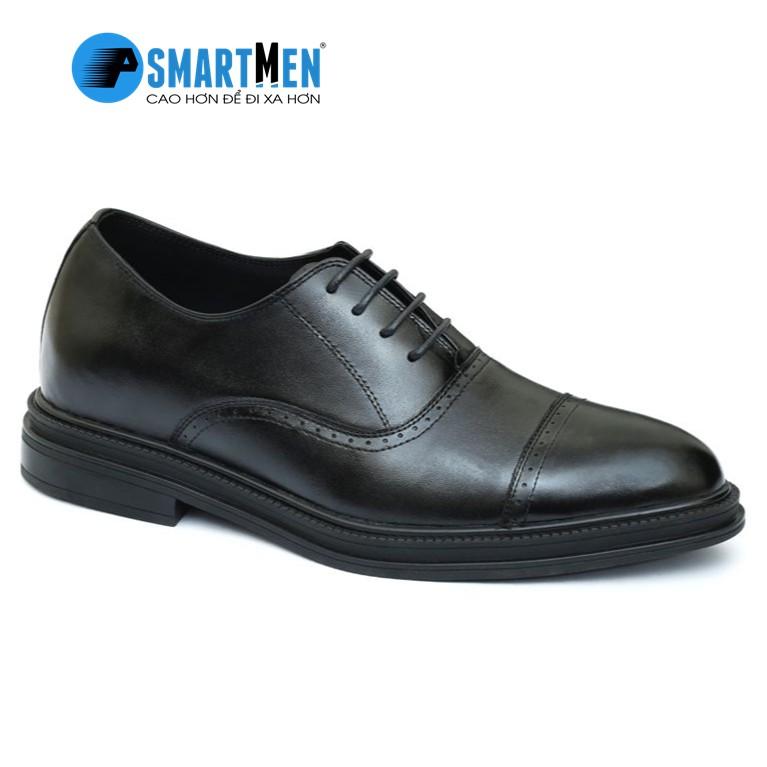 Giày tây Tăng chiều cao da bò nam công sở SmartMen GD-400 Đen