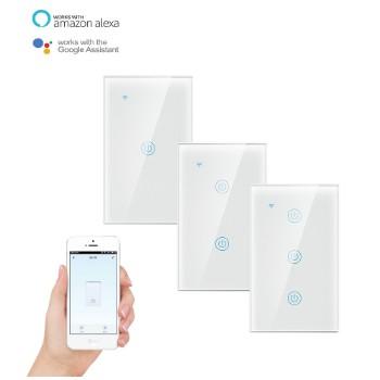 Công tắc thông minh Tuya Smart Life - Công tắc cảm ứng nhà thông minh 3 nút ấn kết nối Wifi