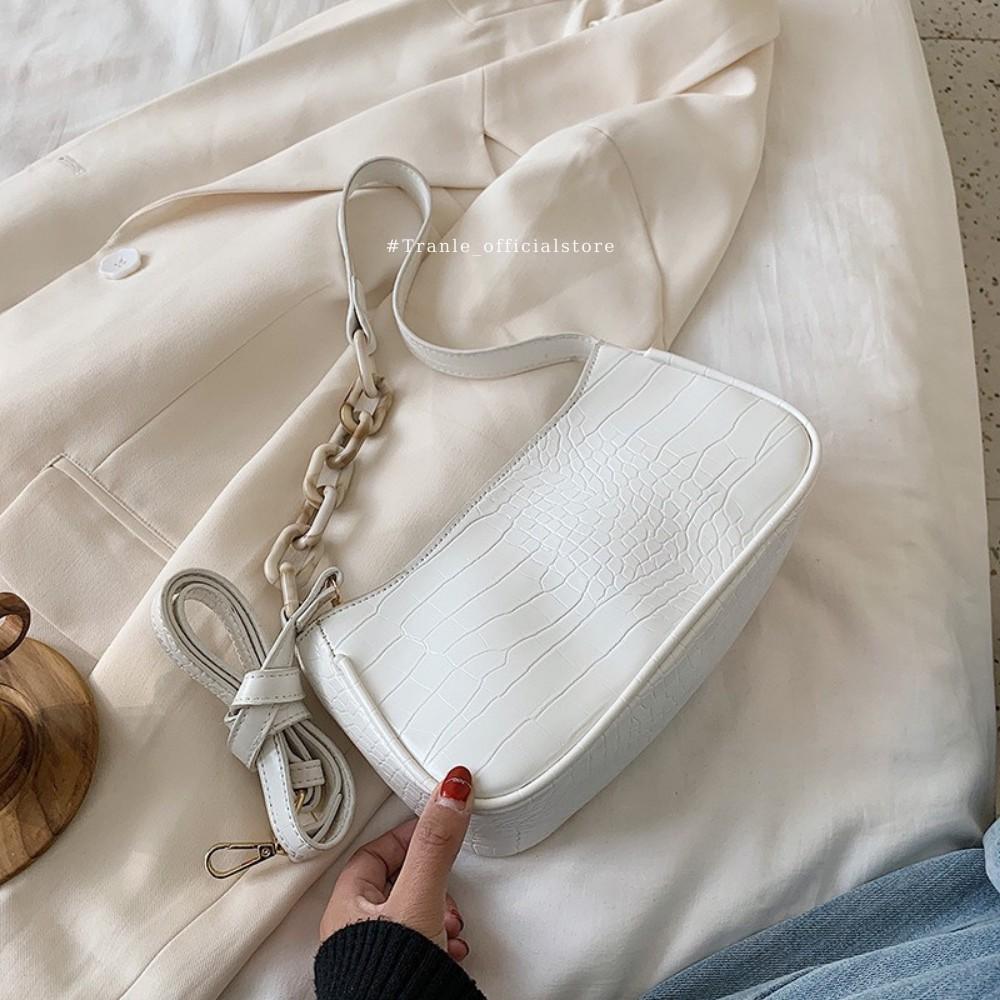 Túi kẹp nách dây xích vân đá Acrylic cao cấp , da rắn cực xịn L12