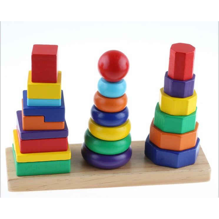 [Nhập mã TOYVUI giảm 20% tối đa 50K]Tháp xếp chồng gỗ 3 cọc – Montessori loại nhỏ
