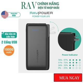 Pin Sạc Dự Phòng RAVPower 10000mAh 17W Cổng Sạc AC Dạng Gập Dòng Ra 3.4A RP-PB066 - Thương hiệu USA - Hàng Chính hãng