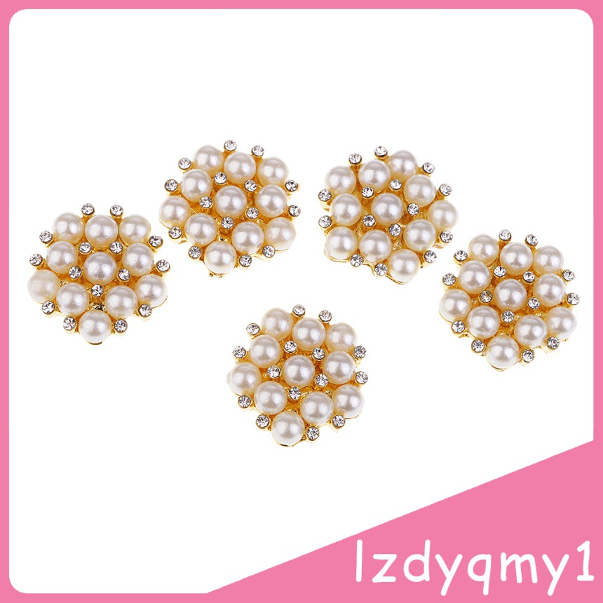Pretty 5 Elegant Diamante Rhinestone Crystal Pearl Embellishments Buttons Flatbacks