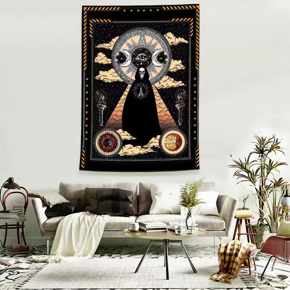 Tarot Tapestry Sun and Moon Psychedelic Tapestry Wall Tapestry Indian Mandala Bohemian Style