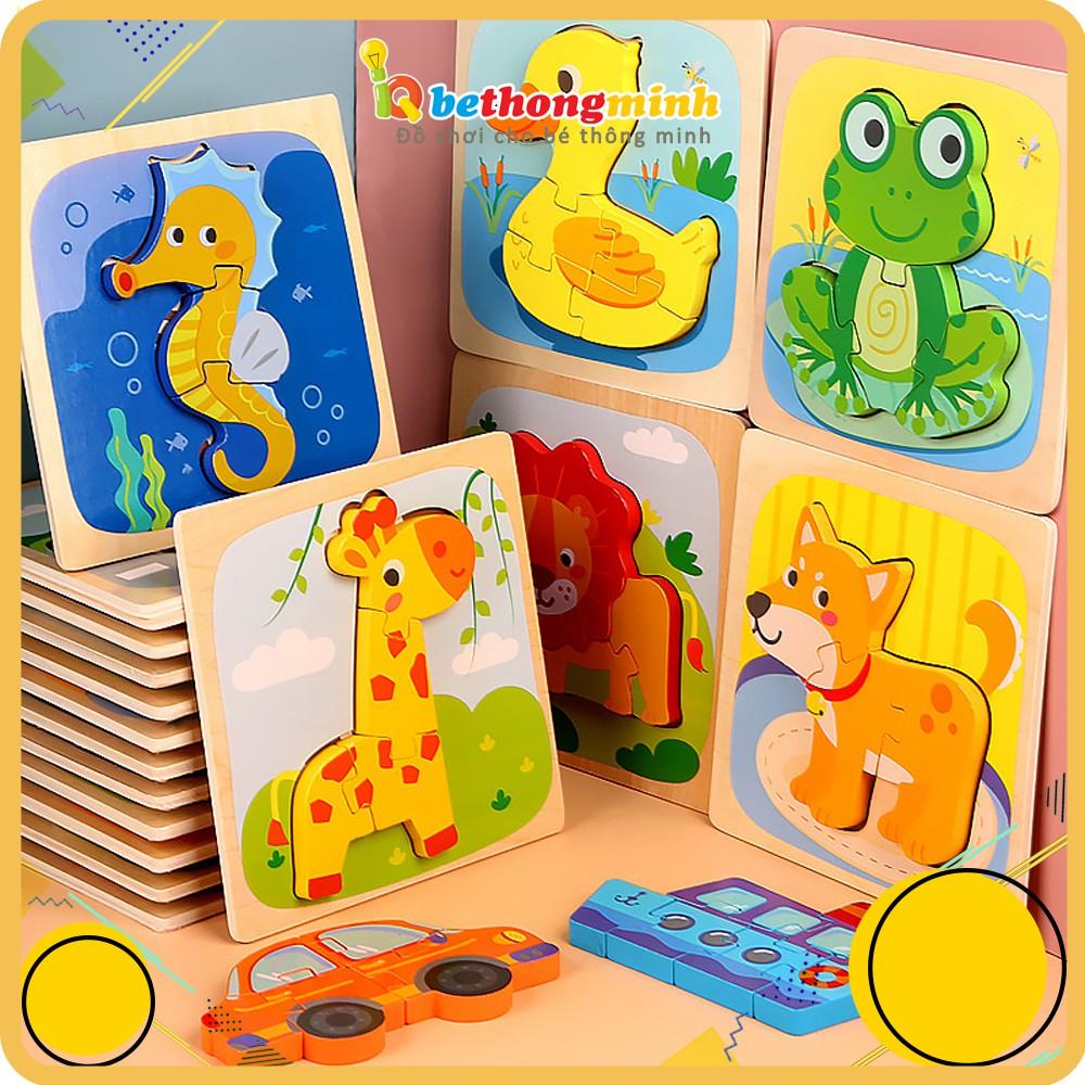 Đồ chơi trẻ em ghép hình nổi 3D bằng gỗ thông minh Montessori nhiều màu sắc giúp bé sáng tạo và phát triển trí tuệ