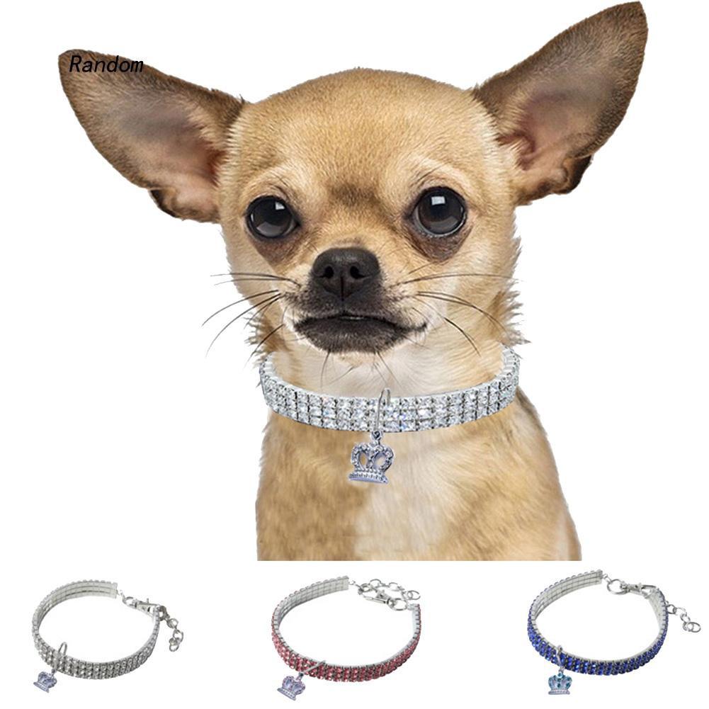 [RA]Alloy Crown Puppy Dog Rhinestone Collar Elastic Neck Strap Necklace Pet Supplies
