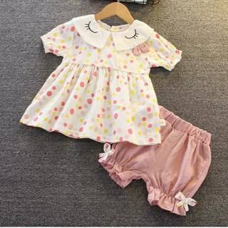 Váy bé gái xòe chấm bi chất cotton cho bé, Váy bé gái xòe kèm quần Short cotton cho bé đáng yêu (mã 12)