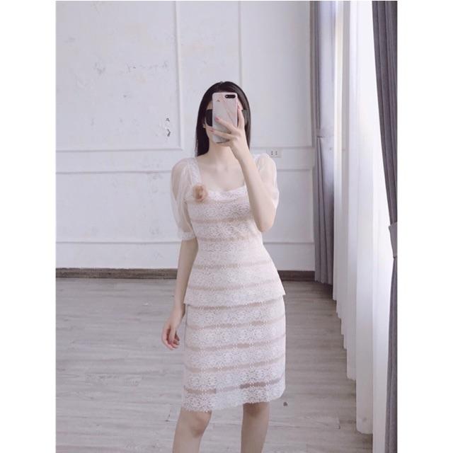 Váy ren thiết kế hai tầng cổ vuông tay pha voan