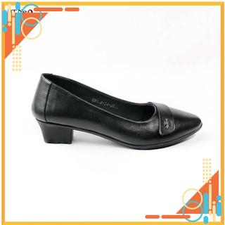 Giày nữ - giày da nữ cao cấp HT.NEO (7) da cừu mềm mại,đế cao su non cao 3cm, nơ da trang trí, thêm khuy kim loại CS155 thumbnail