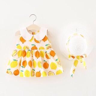 Váy quả chanh thô lụa cho bé gái size 8-20kg