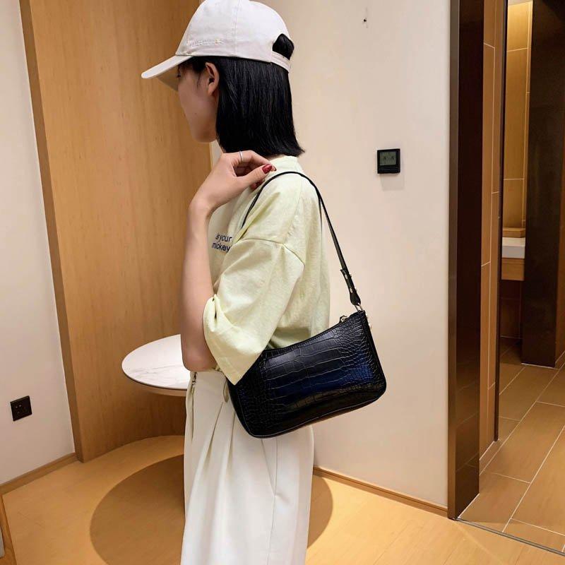 Túi xách đeo vai JASMIN NOIR cỡ nhỏ chất liệu da PU họa tiết vân cá sấu sang trọng thời trang cho nữ