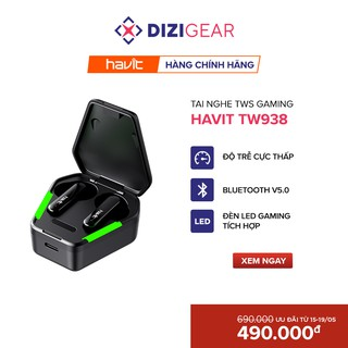 Tai Nghe True Wireless HAVIT TW938, Tích Hợp Gaming Mode , Pin Tới 28 Giờ, Nghe Độc Lập, Type C, Cảm Ứng thumbnail