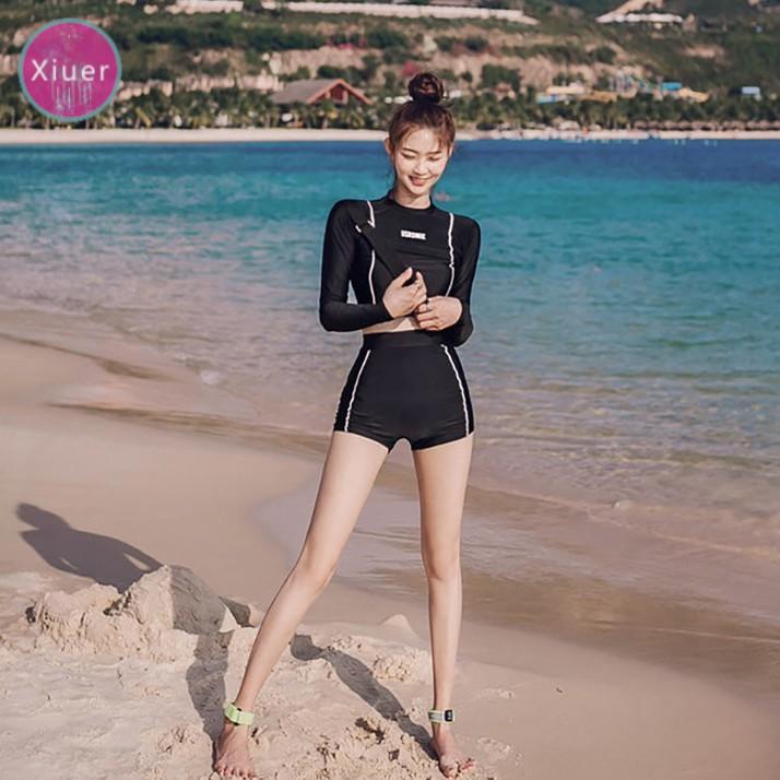 Áo bơi nữ Xiuer dài tay với quần short UV, vải bơi UV thực sự, eo cao, đồ bơi hai mảnh / lớn, quần áo hoạt động bãi biển # Y01