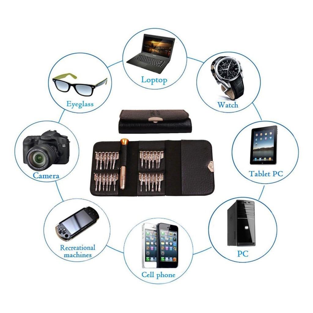 Bộ tua vít đa năng 25 in 1 dùng sửa điện thoại đồng hồ máy tính laptop, tô vít với thiết kế kiểu ví da hiện đại cực hot