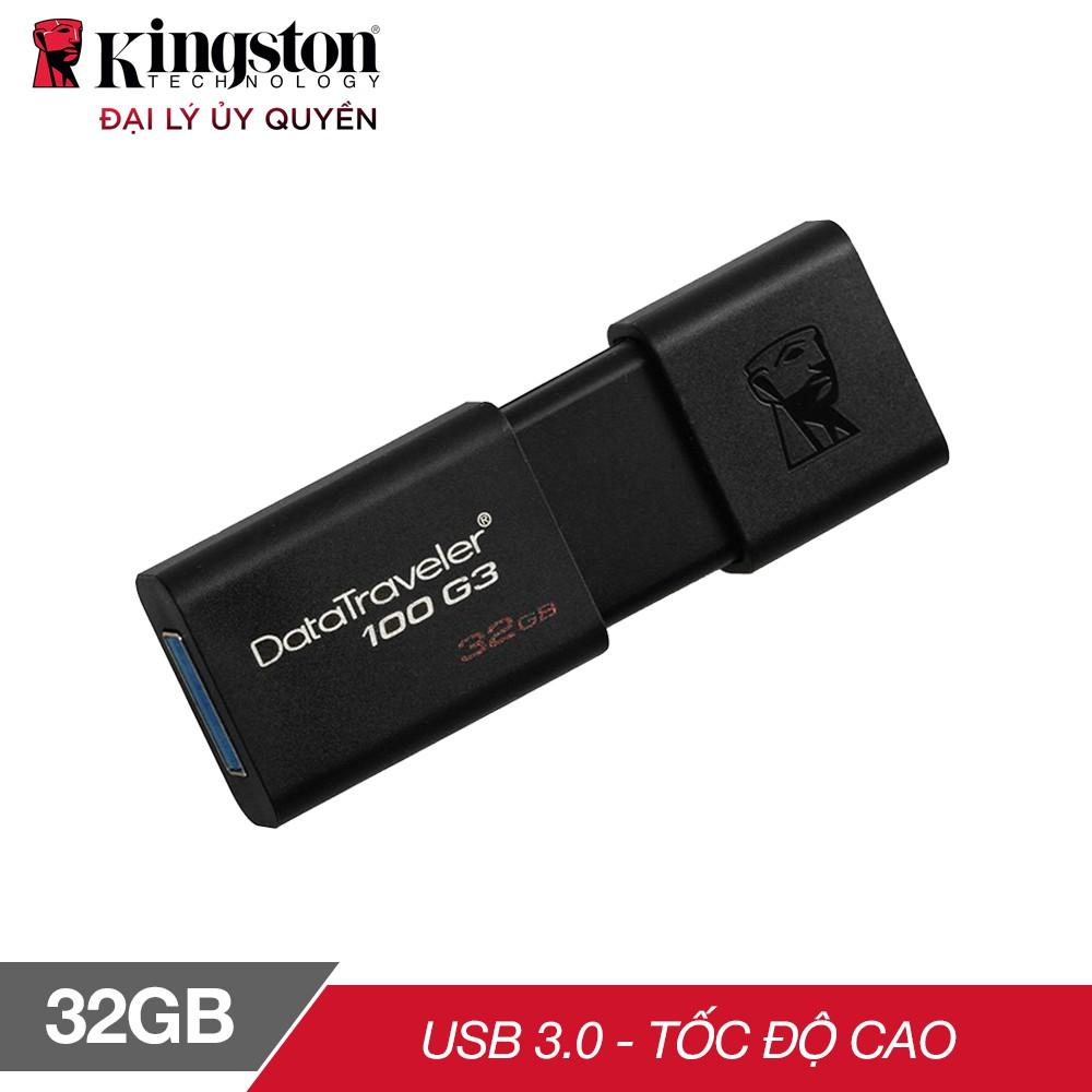 [Mã ELCL250K giảm 5% đơn 250K] USB 3.0 Kingston DT100G3 32GB tốc độ upto 100MB/s - Hãng phân phối chính thức