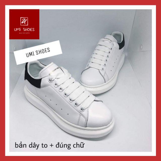 [KÈM HỘP MCQ ] Giày thể thao nam MC. Queen gót nhung đen mũi khâu đế êm mềm cao 4cm đi chơi đơn giản giá rẻ
