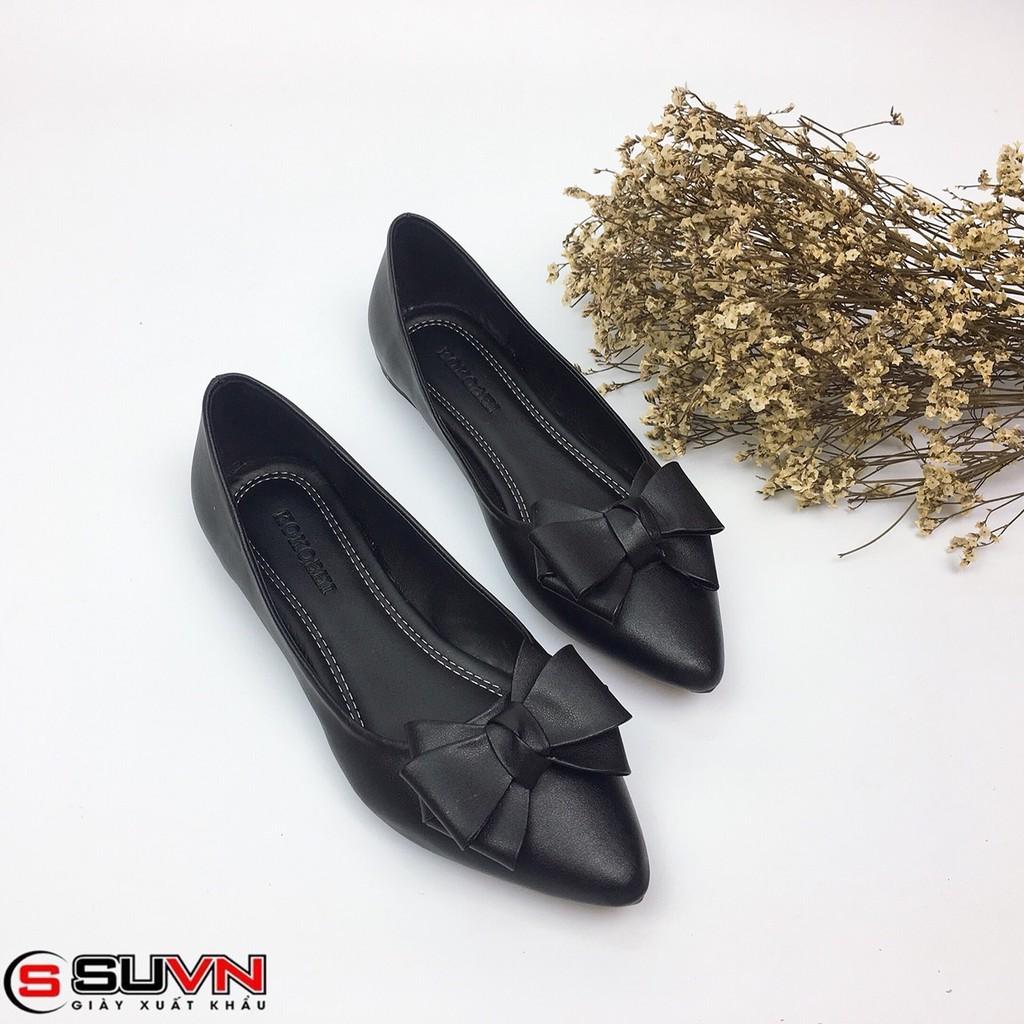 Giày Bệt Mũi nhọn Nơ Xinh Da thật Siêu Mềm Cực Êm HANO
