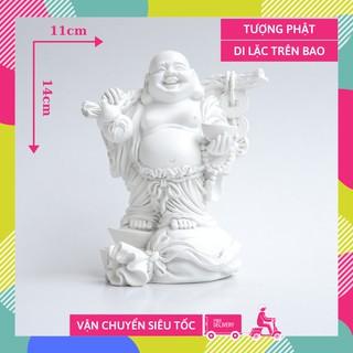 Tượng Phật Di Lặc trên bao tải tiền trắng ngà cầu tài lộc - Cao 14cm thumbnail