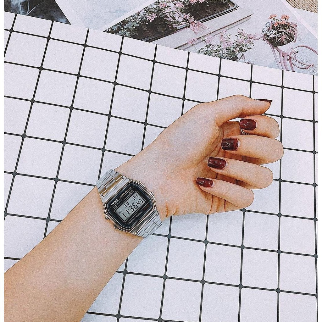 Đồng hồ điện tử Casio A158-A159 WA1DF UNISEX dây kim loại bạc mặt đen - G-sock và Casio