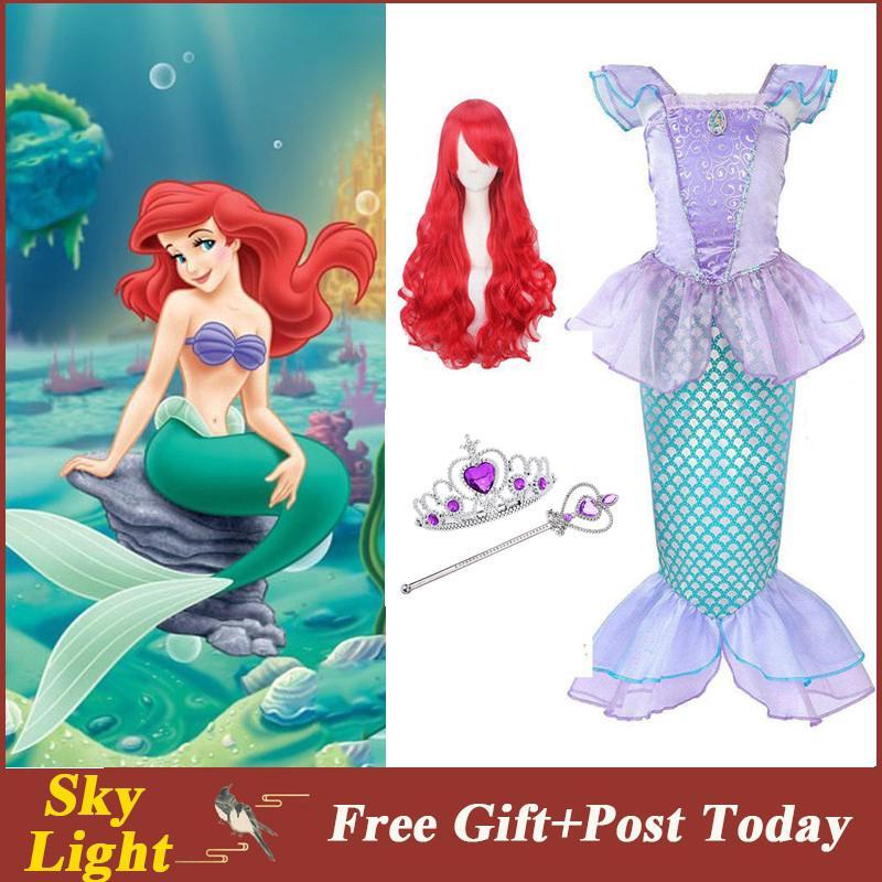 Set đồ hoá trang thành công chúa nàng tiên cá và bộ tóc giả xinh xắn cho bé gái